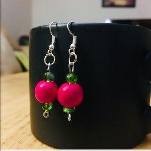 NWT, Pink & Emerald green drop EARRINGS